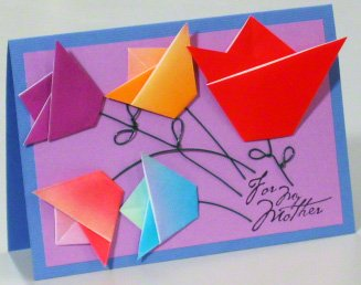 Mothers Day card with origami tulips