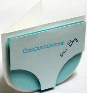 Baby shower greeting card with diaper shape