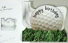 Greeting card sketches - golf birthday card example