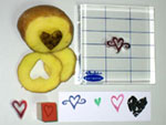 Rubber ink stamps and potato stamp
