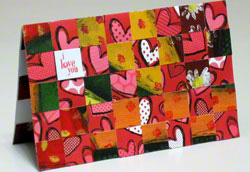 Valentine card - 1st landscape design woven from paper strips