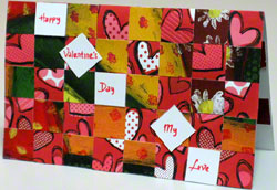 Valentine card - 2nd landscape design woven from paper strips