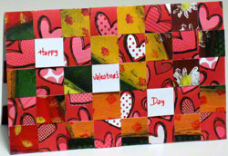 Valentine card - 4th landscape design woven from paper strips