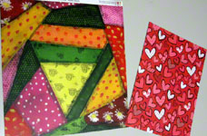 Materials for Valentine card woven from paper strips
