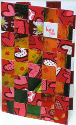 Valentine card - 2nd portrait design woven from paper strips