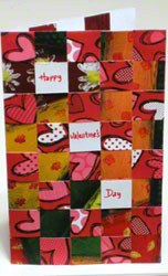 Valentine card - 3rd portrait design woven from paper strips