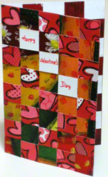 Valentine card - 4th portrait design woven from paper strips
