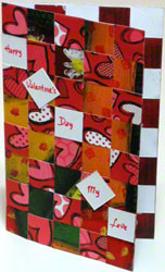 Valentine card - 5th portrait design woven from paper strips