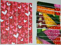 Valentine card woven from paper strips - step 2