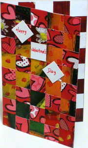 Valentine card woven from paper strips