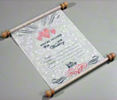Scroll like white unique wedding invitation card that rolls up thumbnail