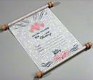 White unique wedding invitation card that looks like a scroll thumbnail