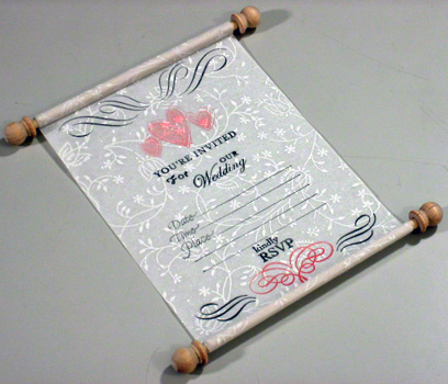 "Announce you want to ""roll out the white carpet"" by making a white unique wedding invitation that rolls up like a royal scroll. Also"