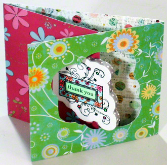 Creative thank you card with 3 page hybrid fold