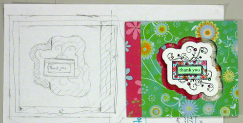 Greeting card sketches - thank you card example