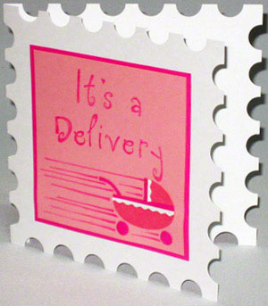 New baby greeting card with postage stamp shape