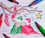 Romantic holiday card art for making your own greeting card